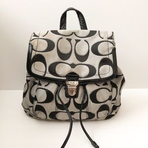 Coach signature print backpack black and gray